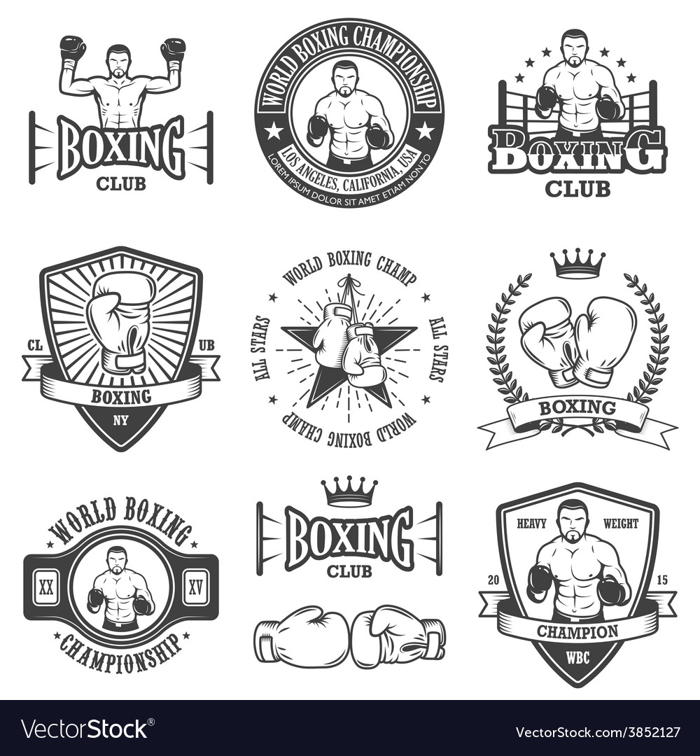 Set of vintage boxing emblems vector | Price: 1 Credit (USD $1)