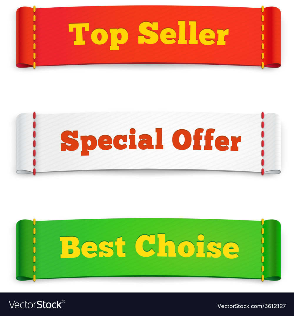Tags labels or commercial banners on white vector | Price: 1 Credit (USD $1)
