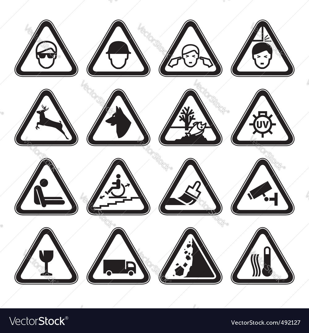 Warning safety signs set black vector | Price: 1 Credit (USD $1)