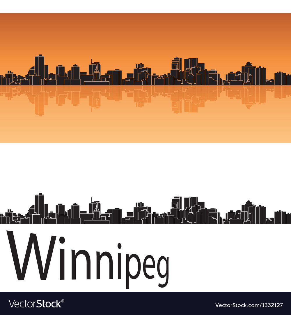 Winnipeg skyline in orange background vector | Price: 1 Credit (USD $1)