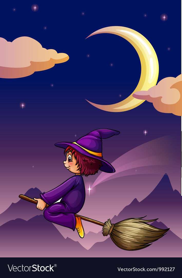 Witch on broom vector | Price: 1 Credit (USD $1)