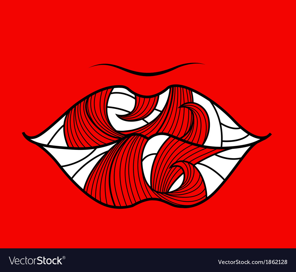 Banner with lips on a red background vector | Price: 1 Credit (USD $1)