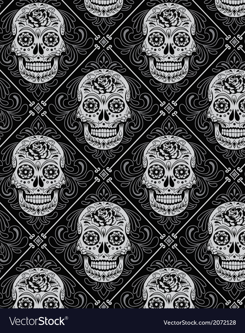 Day of the dead seamless pattern vector | Price: 1 Credit (USD $1)