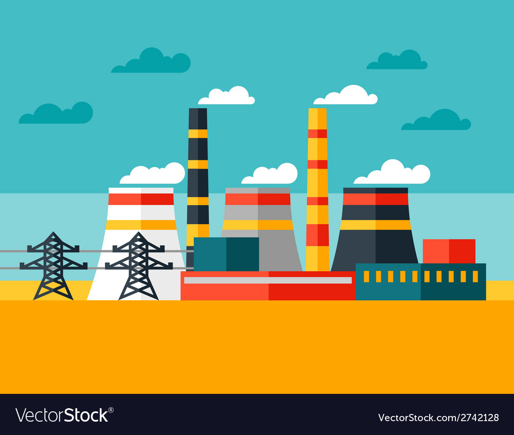 Industrial power plant in flat style vector | Price: 1 Credit (USD $1)