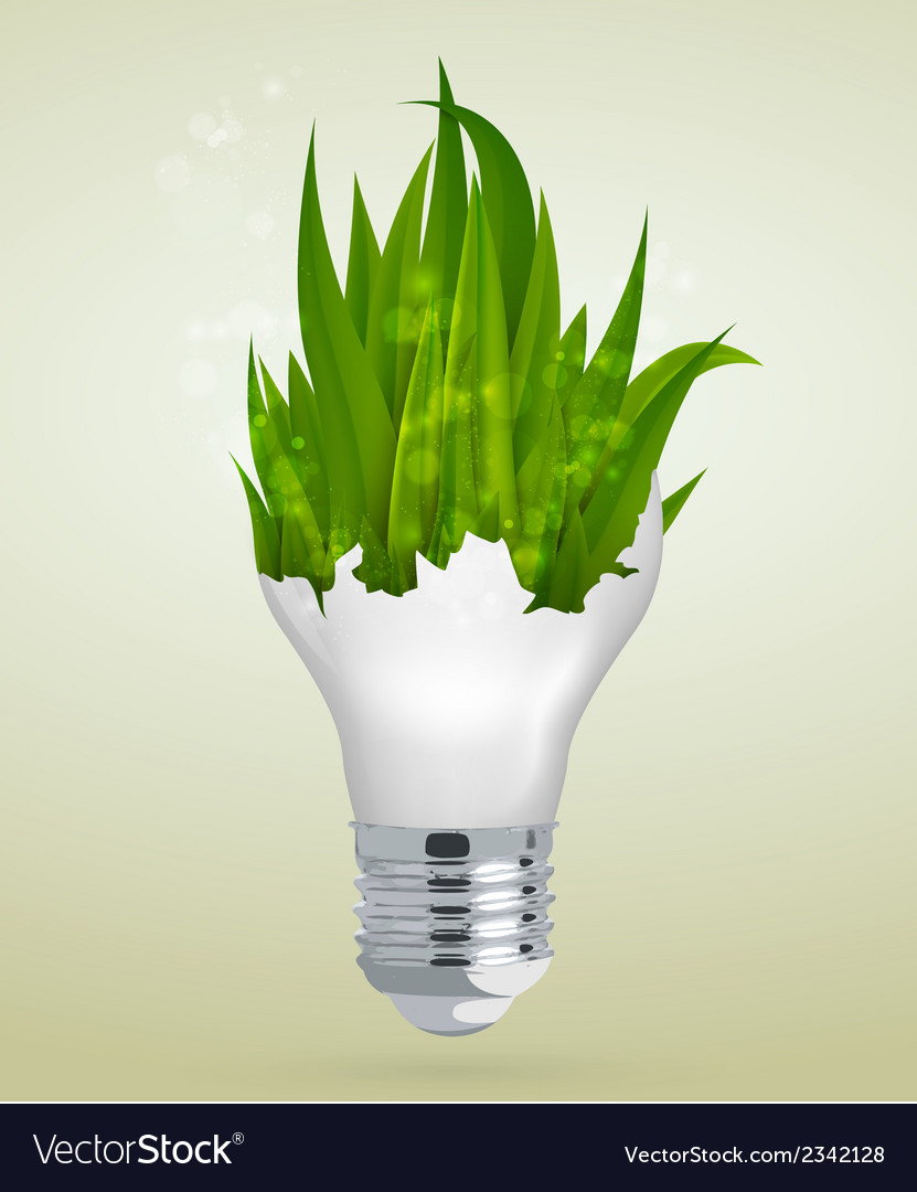Light bulb with grass the concept vector | Price: 1 Credit (USD $1)
