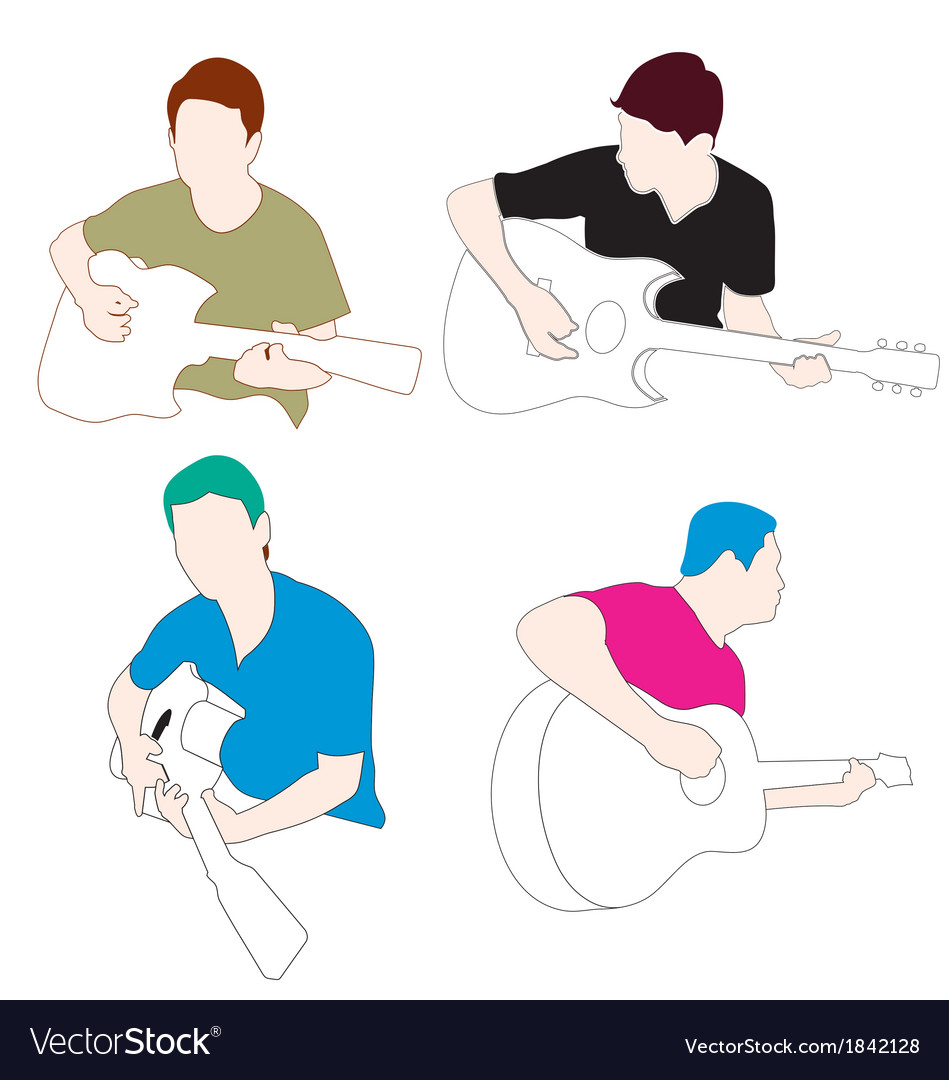 Man play guitar vector | Price: 1 Credit (USD $1)
