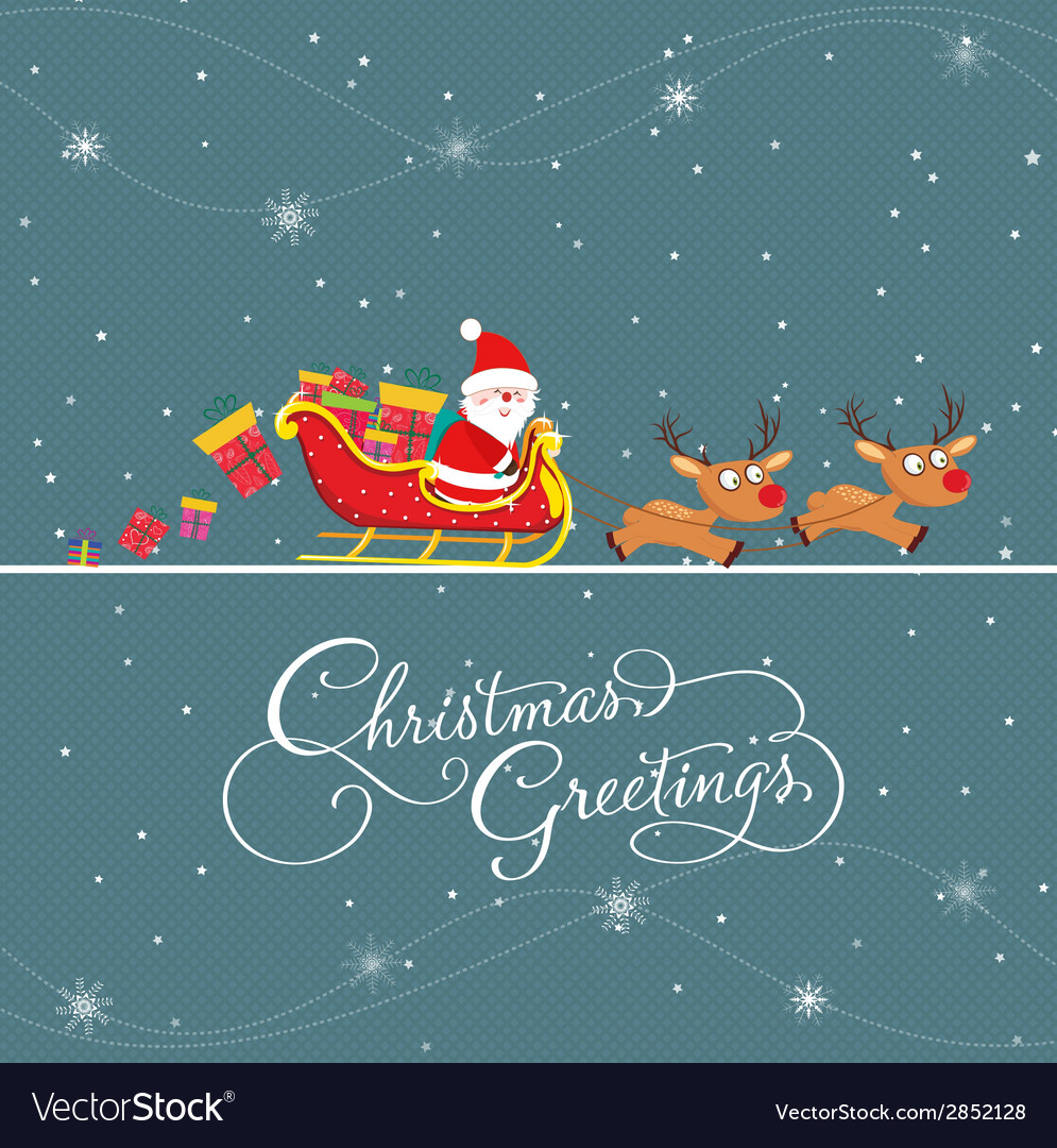 Merry christmas card with santa claus and gift vector | Price: 1 Credit (USD $1)