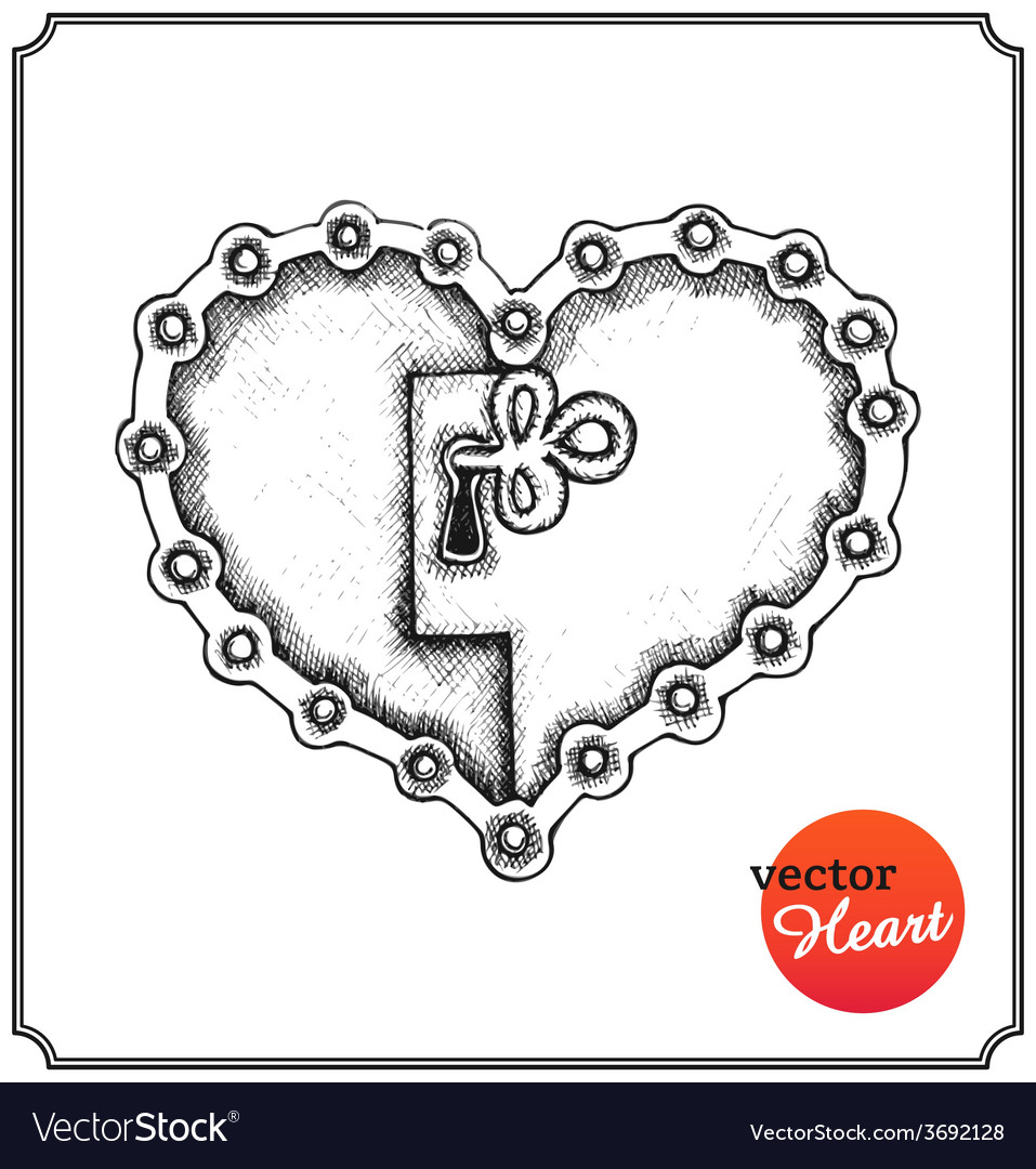Metallic lock in form of heart vector | Price: 1 Credit (USD $1)