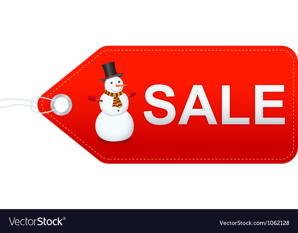 Snowman with sale label vector | Price: 1 Credit (USD $1)