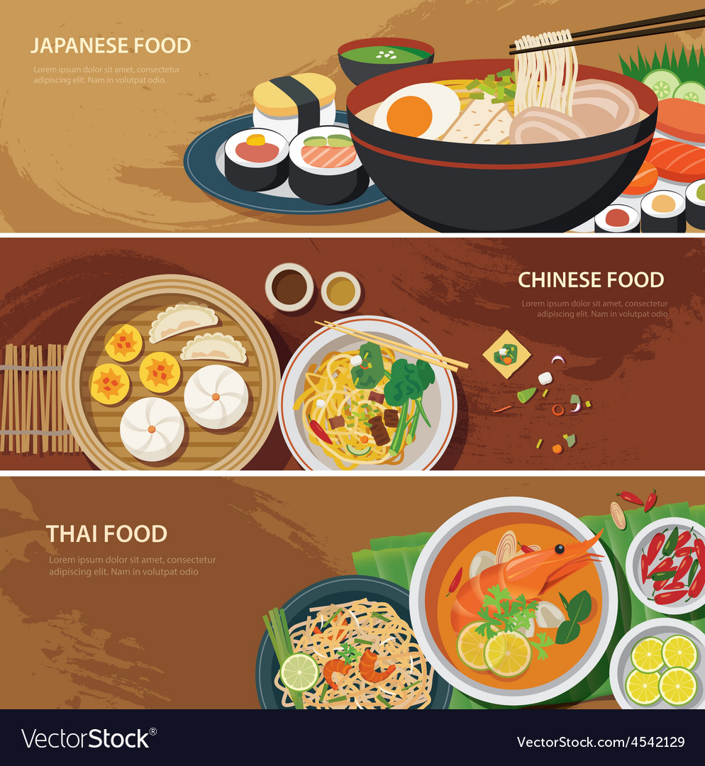 Asia street food web banner vector | Price: 1 Credit (USD $1)