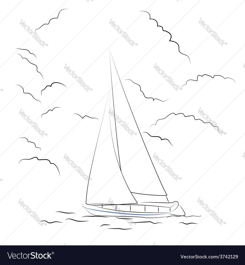 Boat sketch vector | Price: 1 Credit (USD $1)