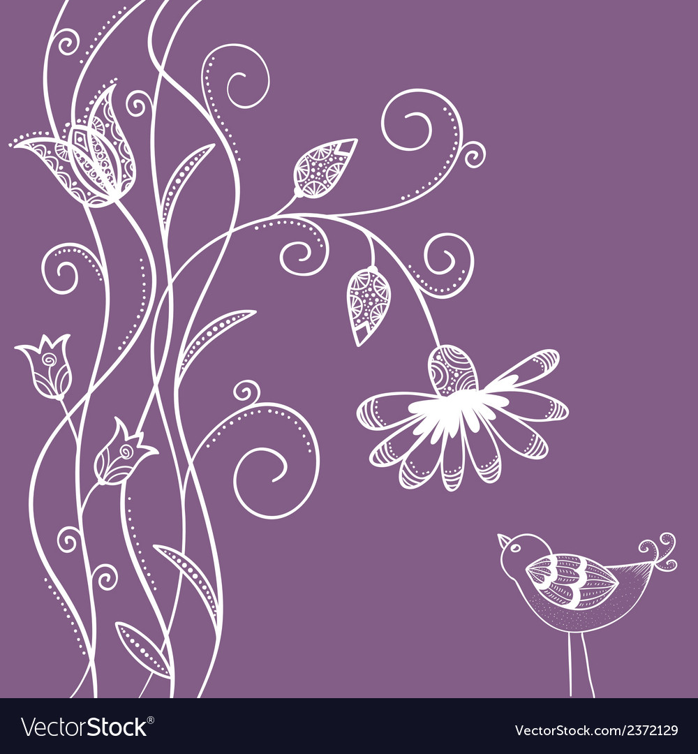 Doodle flowers with swirls and bird vector | Price: 1 Credit (USD $1)