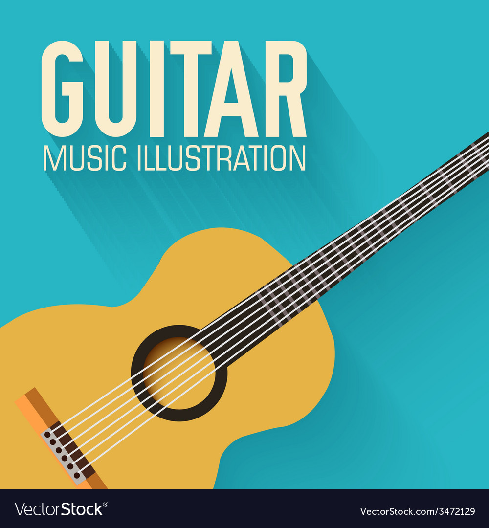 Flat classic guitar background concept vector | Price: 1 Credit (USD $1)