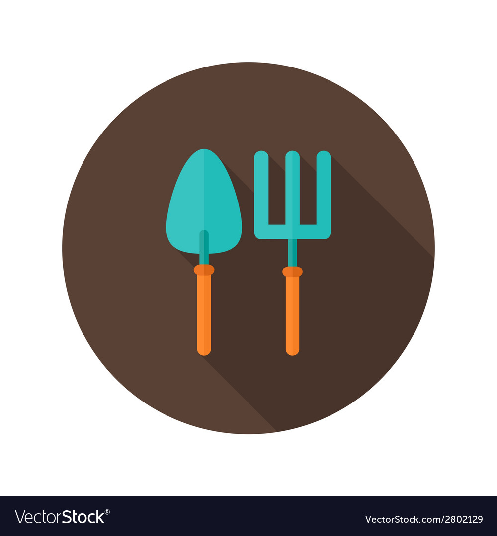Gardening fork and trowel flat icon vector | Price: 1 Credit (USD $1)