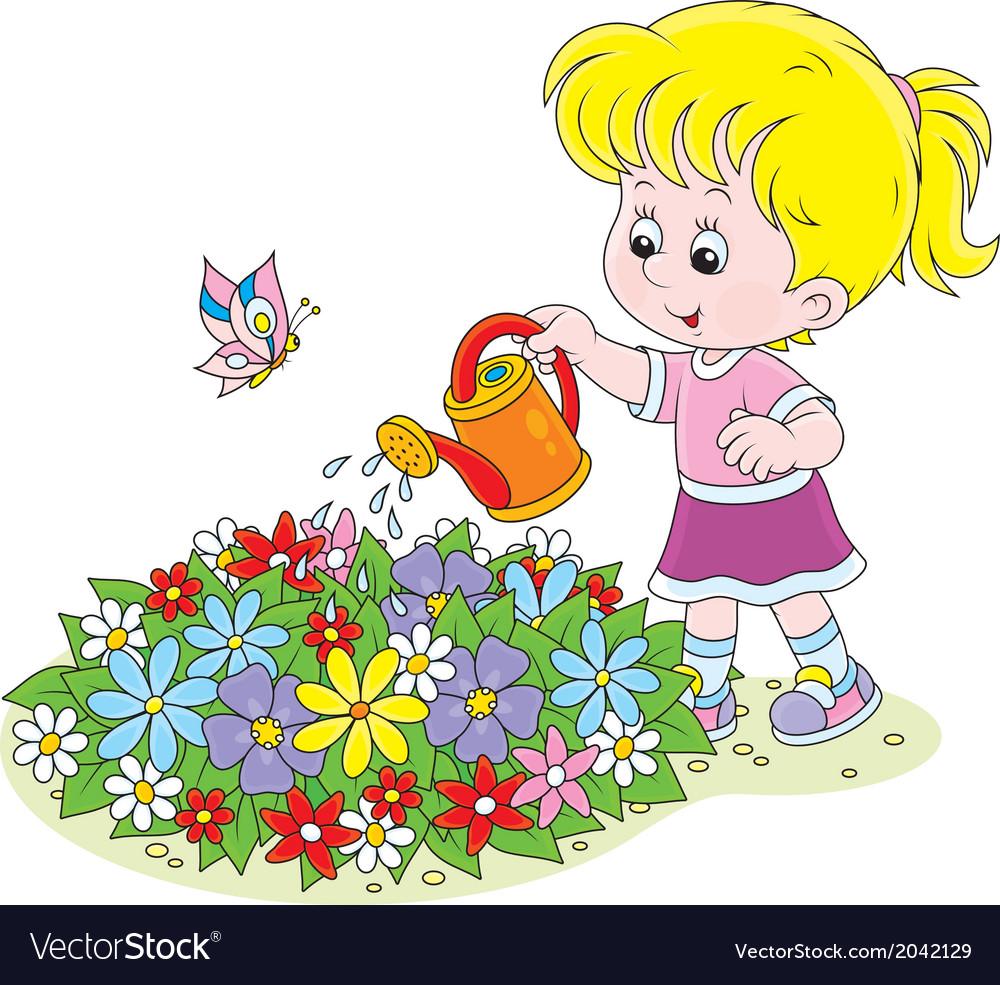 Girl watering flowers vector | Price: 1 Credit (USD $1)
