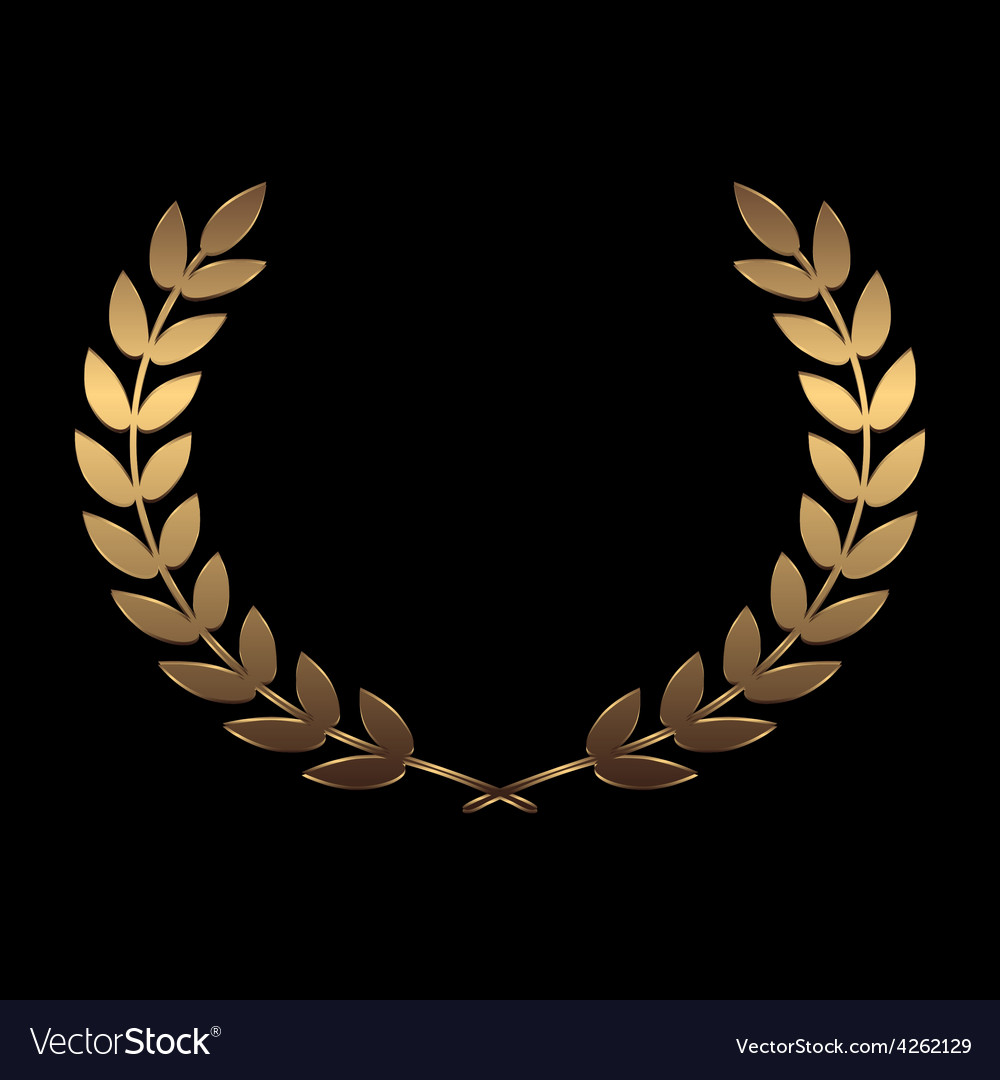 Gold award wreaths laurel on black background vector | Price: 1 Credit (USD $1)