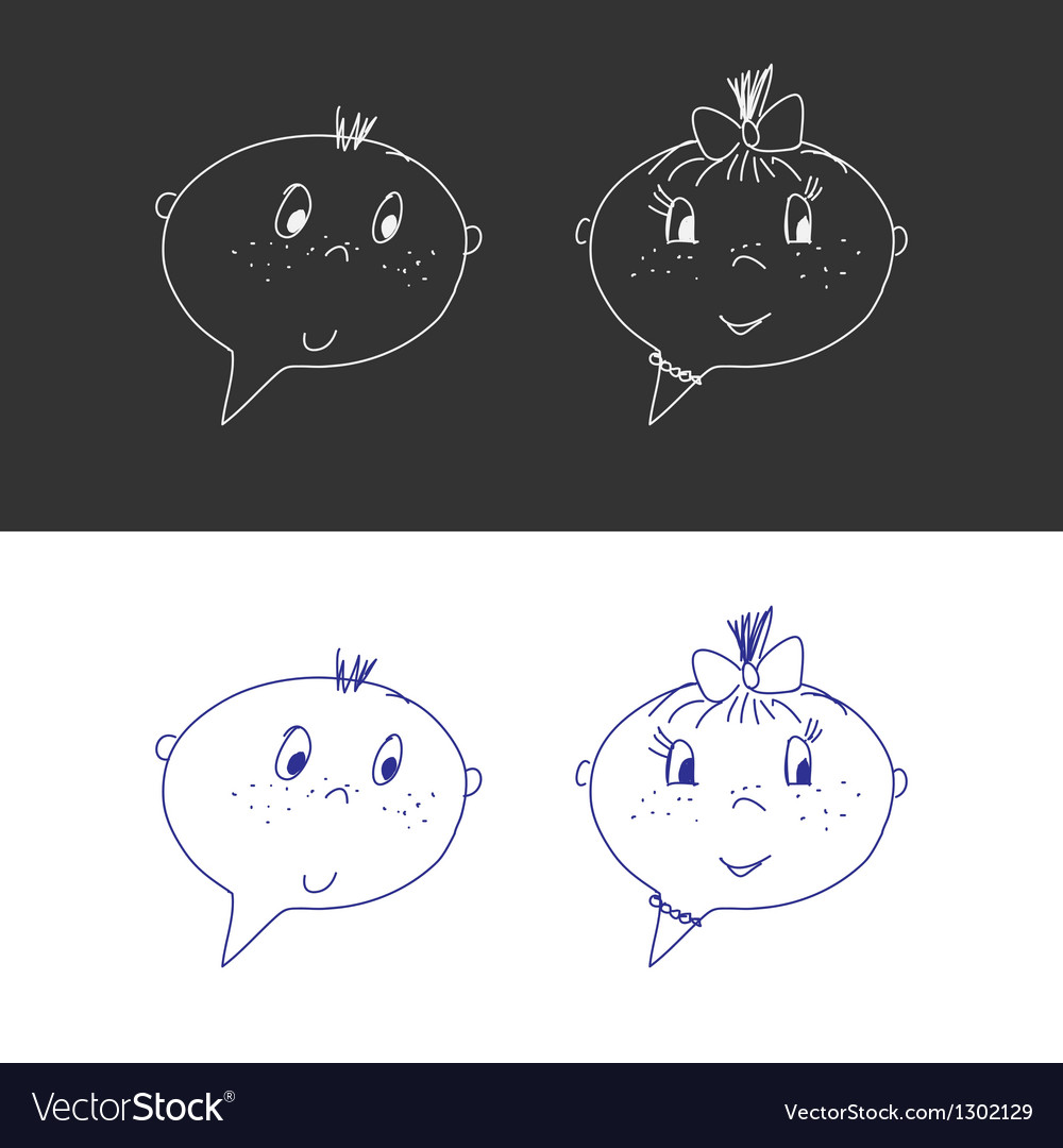 Hand drawn faces boy and girl speech bubble like vector | Price: 1 Credit (USD $1)