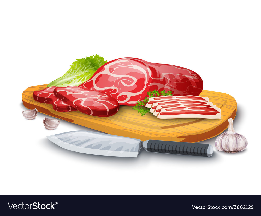 Meat on board vector | Price: 1 Credit (USD $1)