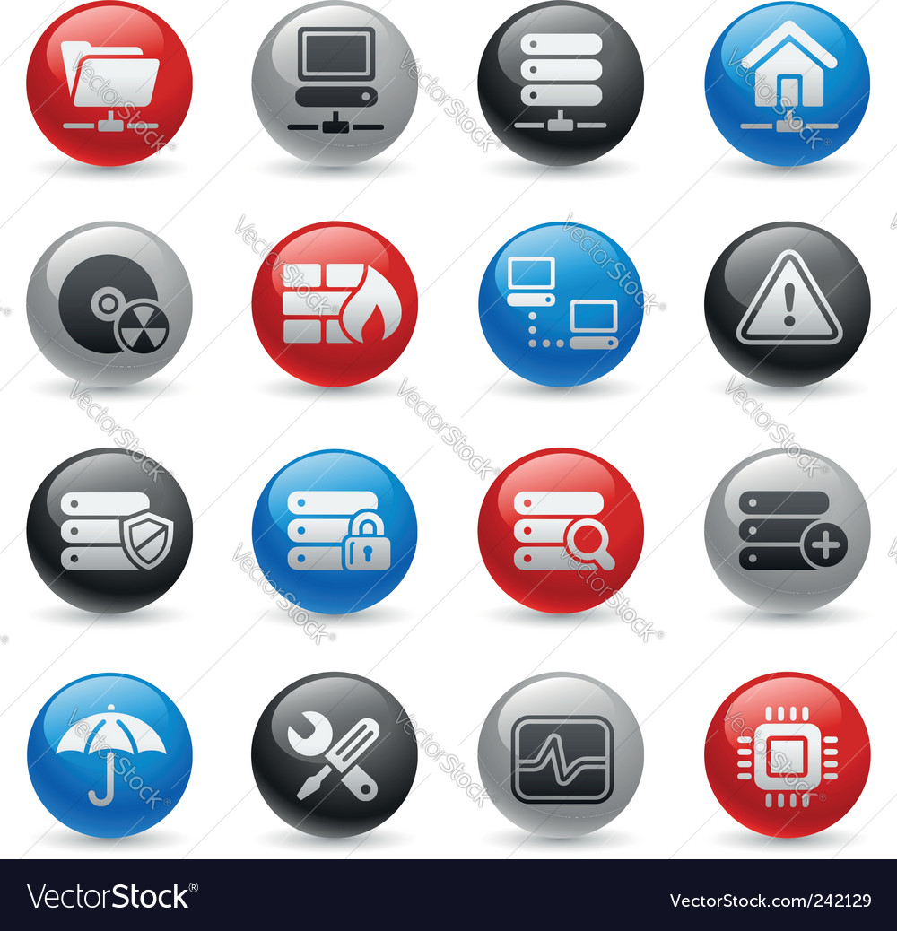 Network and server icons vector | Price: 1 Credit (USD $1)