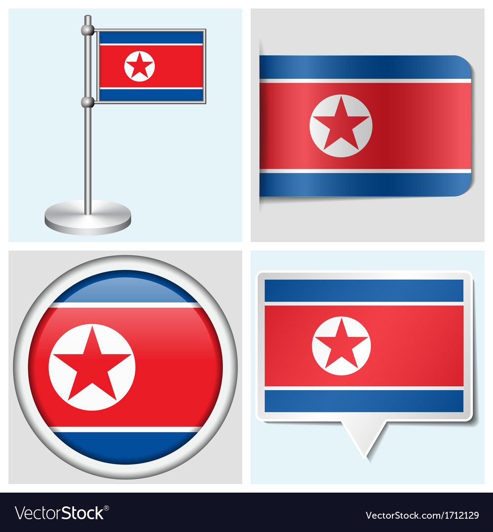 North korea flag - sticker button label vector | Price: 1 Credit (USD $1)