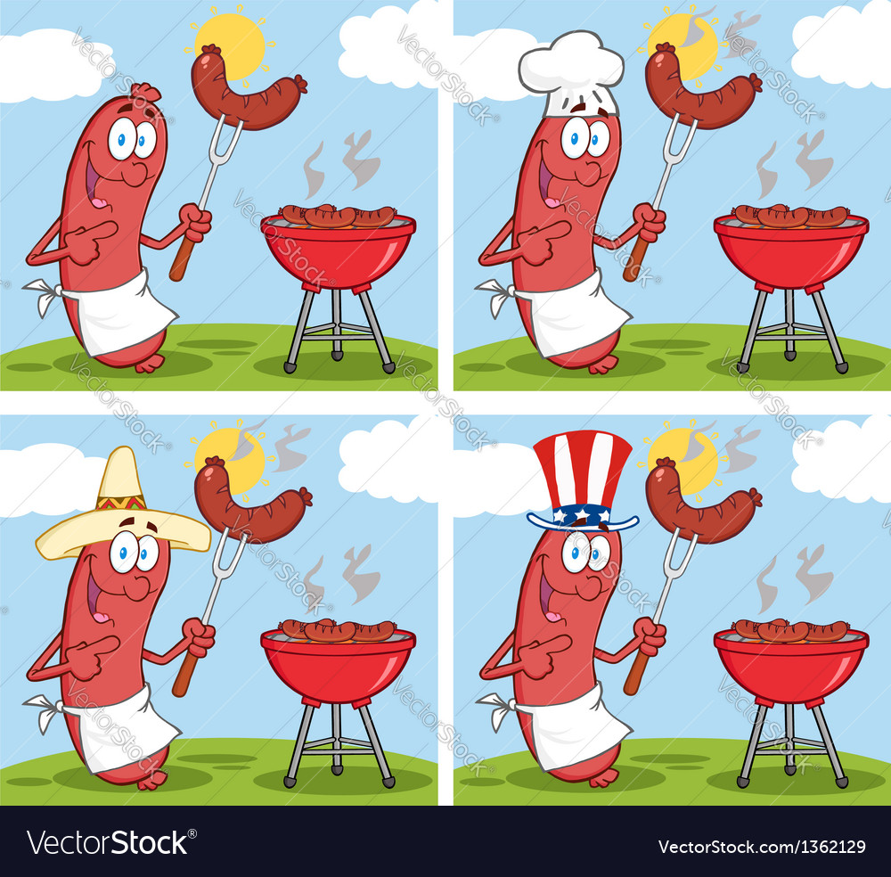 Sausage on picnic collection vector | Price: 1 Credit (USD $1)