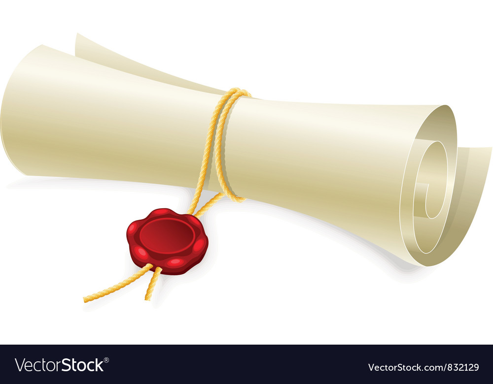 Scroll paper with seal of sealing wax vector | Price: 1 Credit (USD $1)