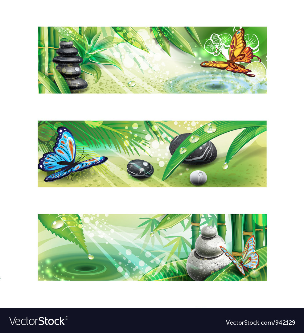 Three horizontal banners with background of a spa vector | Price: 3 Credit (USD $3)