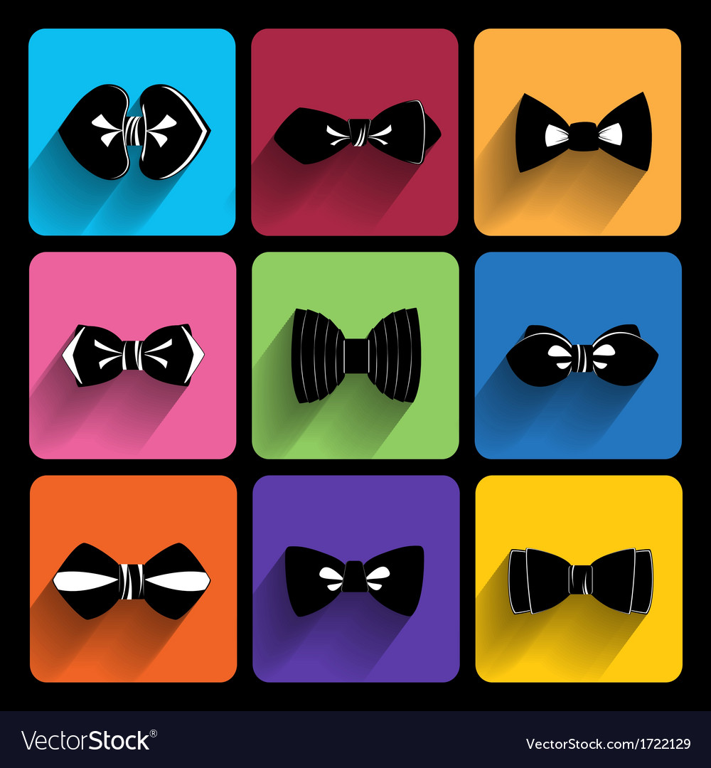 Trendy bow tie icons with long shadow vector | Price: 1 Credit (USD $1)