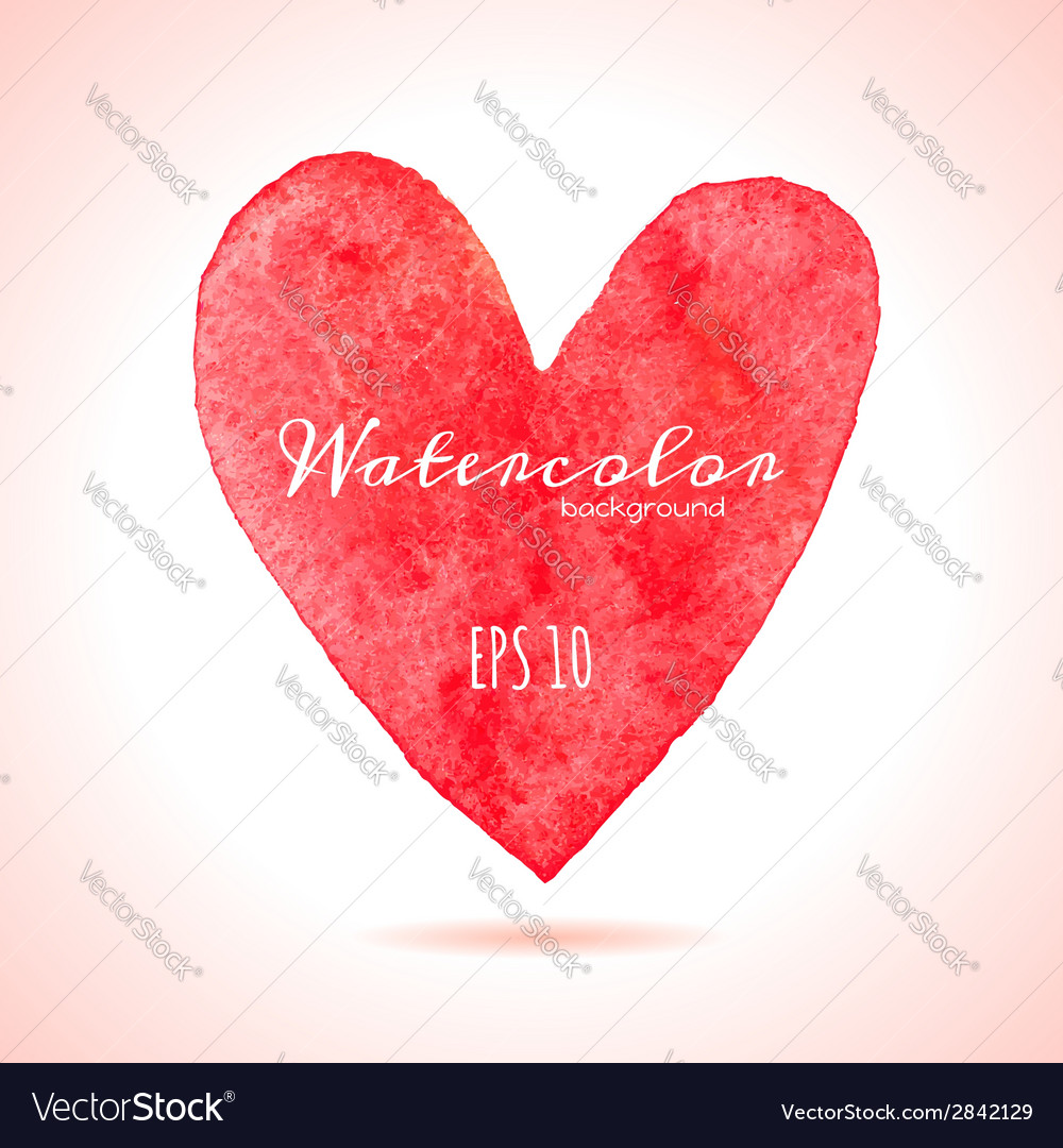 Watercolor painted red heart vector | Price: 1 Credit (USD $1)