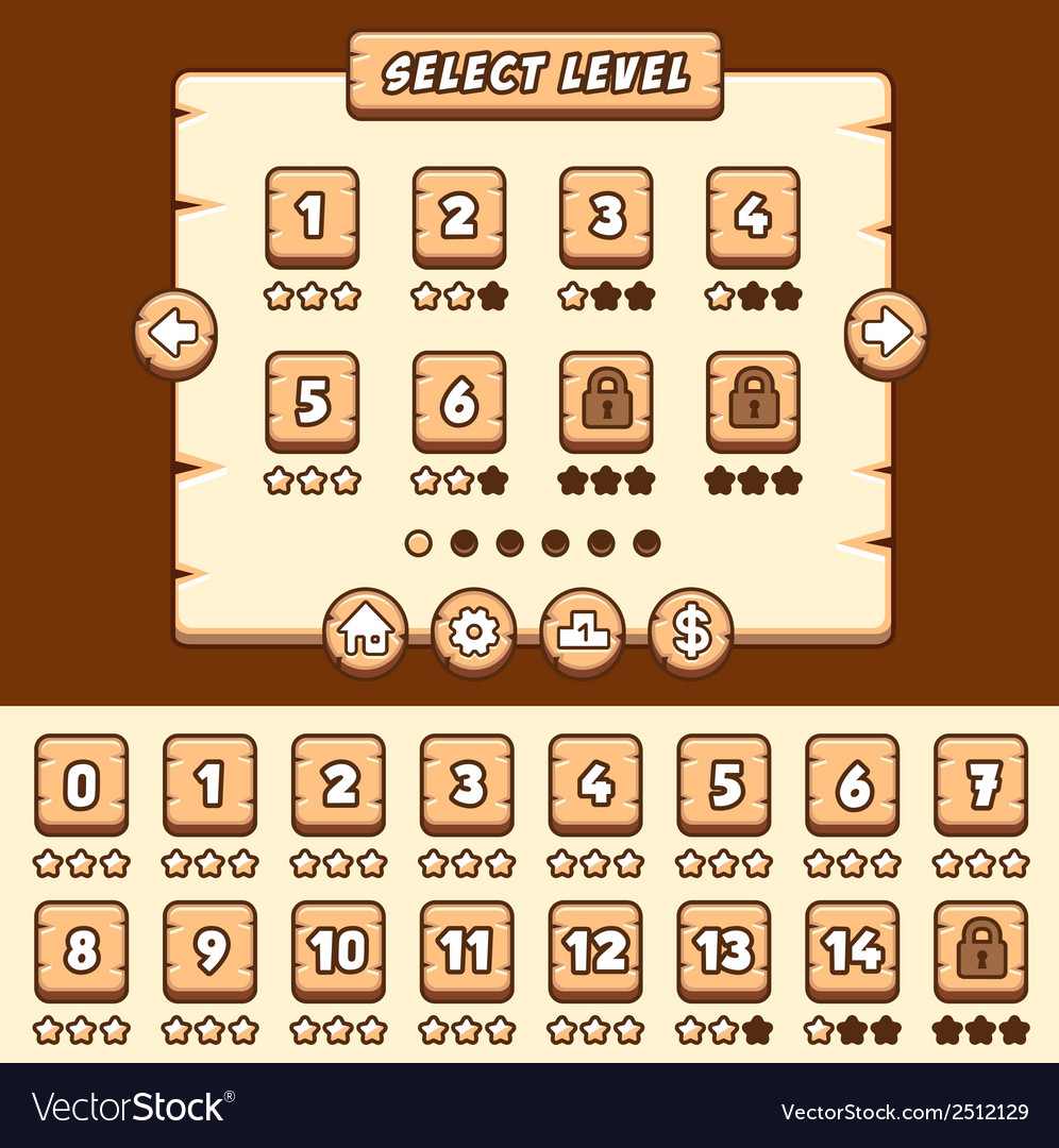 Wooden level selection game asset vector | Price: 1 Credit (USD $1)