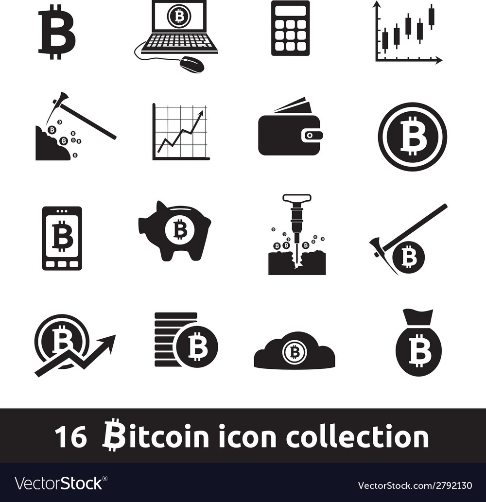 16 bitcoin icon collection vector | Price: 1 Credit (USD $1)