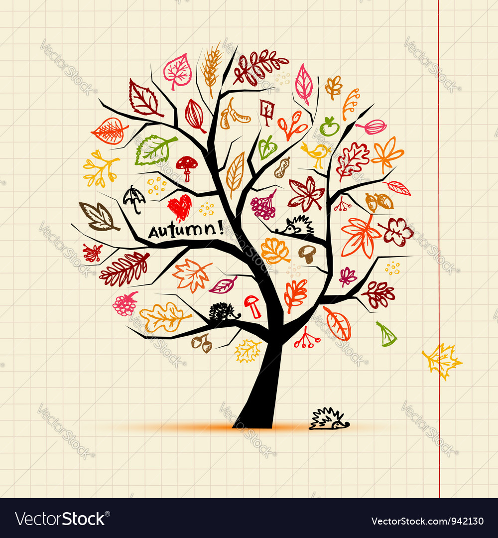 Autumn tree sketch drawing for your design vector | Price: 1 Credit (USD $1)