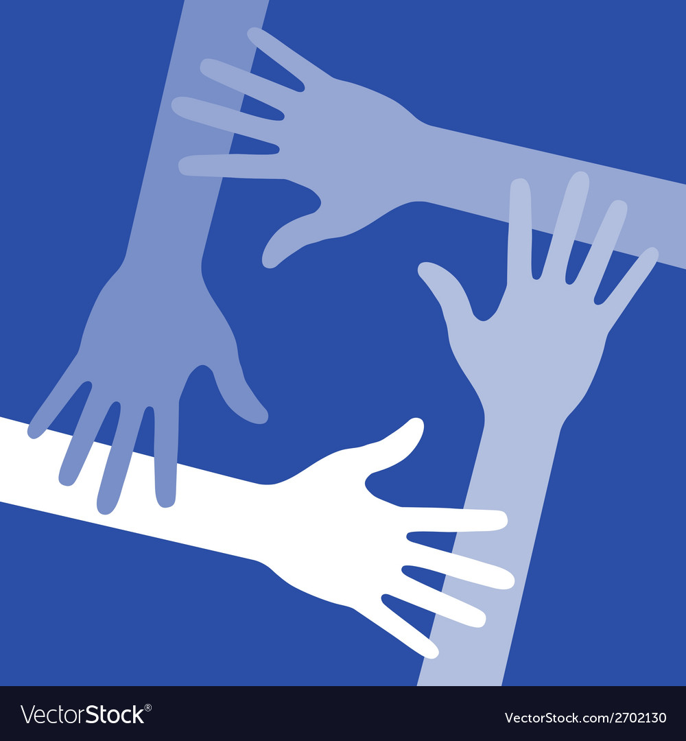 Blue four hands icon for your design vector | Price: 1 Credit (USD $1)