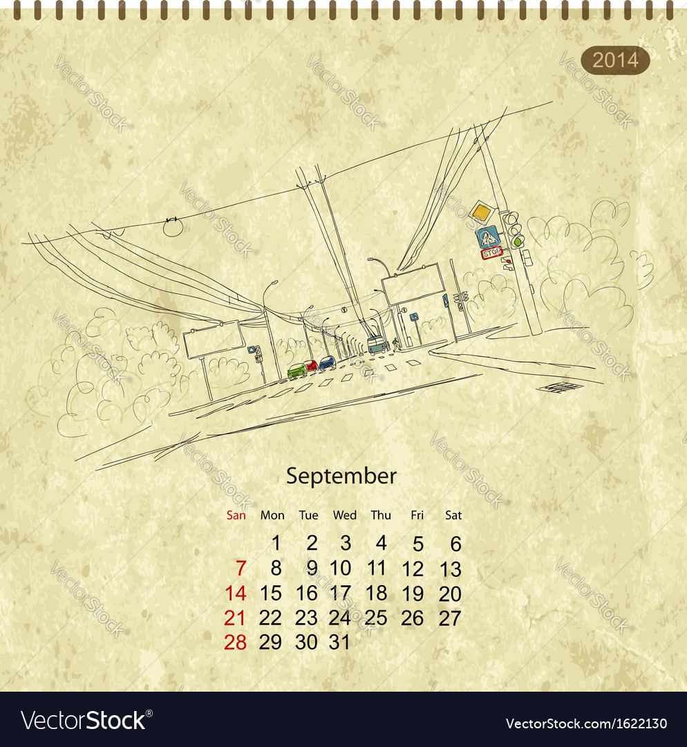 Calendar 2014 september streets of the city sketch vector | Price: 1 Credit (USD $1)