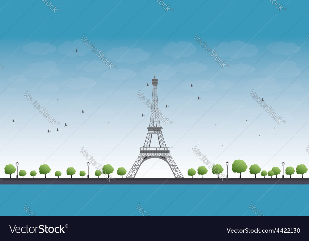 Eiffel tower with blue sky vector | Price: 1 Credit (USD $1)