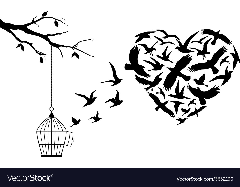 Flying birds heart vector | Price: 1 Credit (USD $1)
