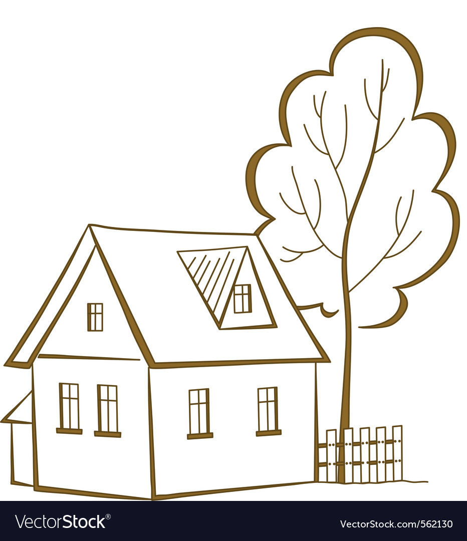 House with a tree pictogram vector | Price: 1 Credit (USD $1)