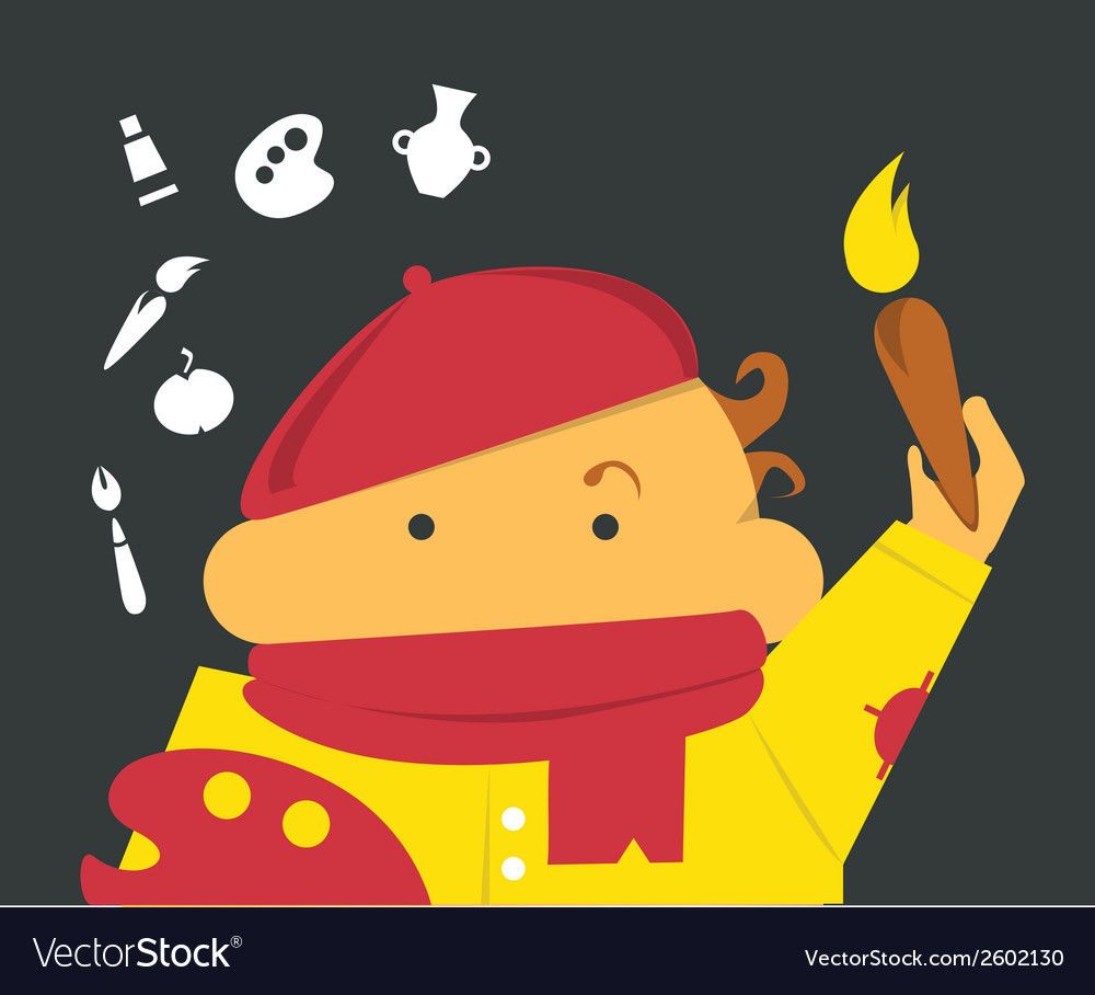 Painter with a brush and palette in beret vector