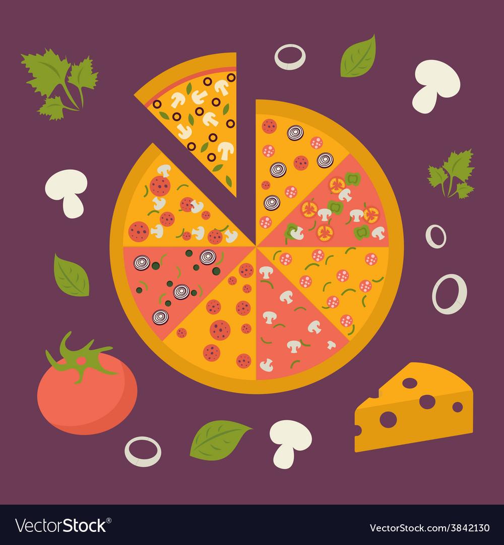 Pizza icon minimal design tasty pizza slices vector | Price: 1 Credit (USD $1)