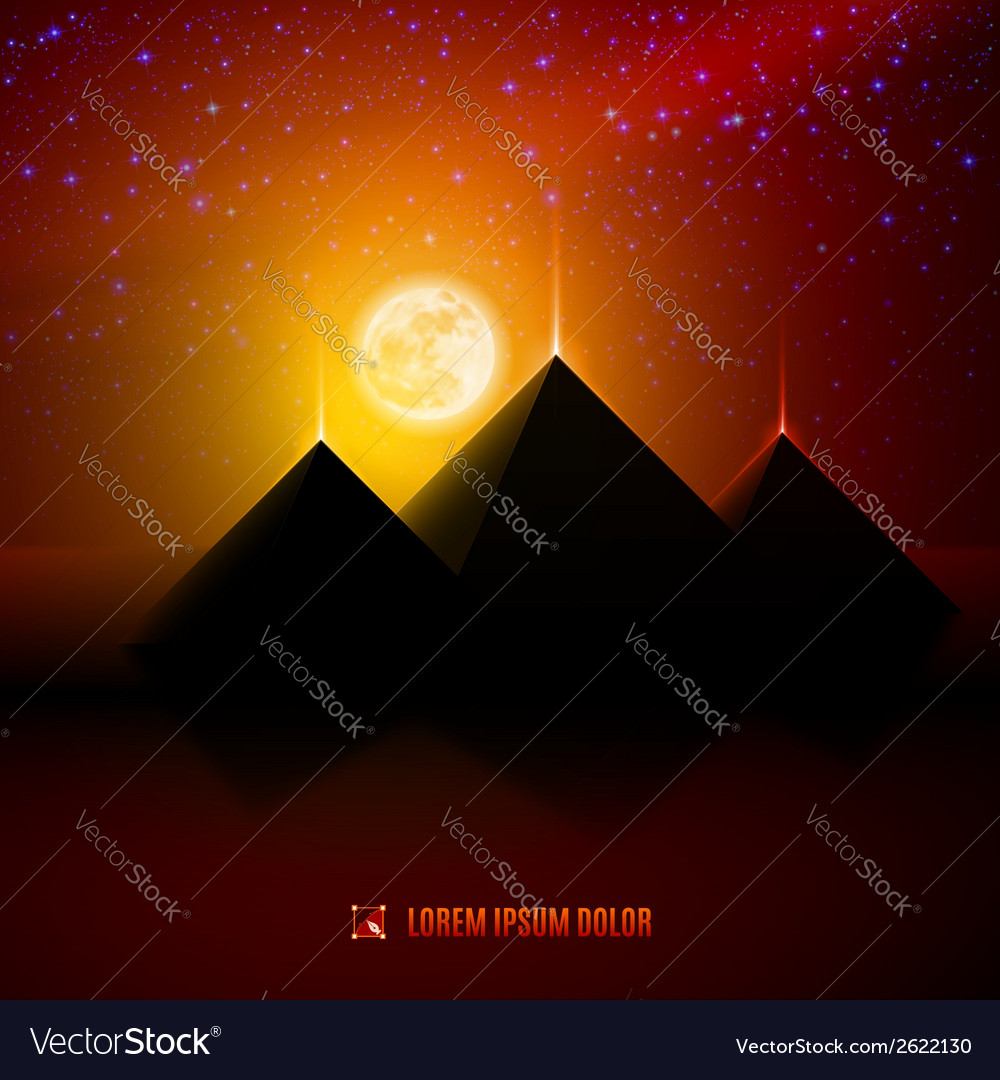 Red and orange night desert landscape vector | Price: 1 Credit (USD $1)