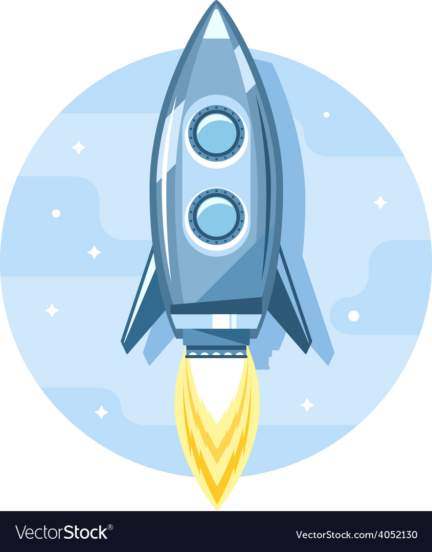 Rocket in sky flat icon vector | Price: 1 Credit (USD $1)