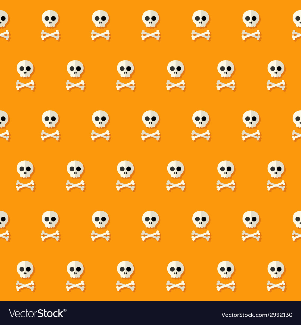 Seamless halloween skull pattern with bones vector | Price: 1 Credit (USD $1)
