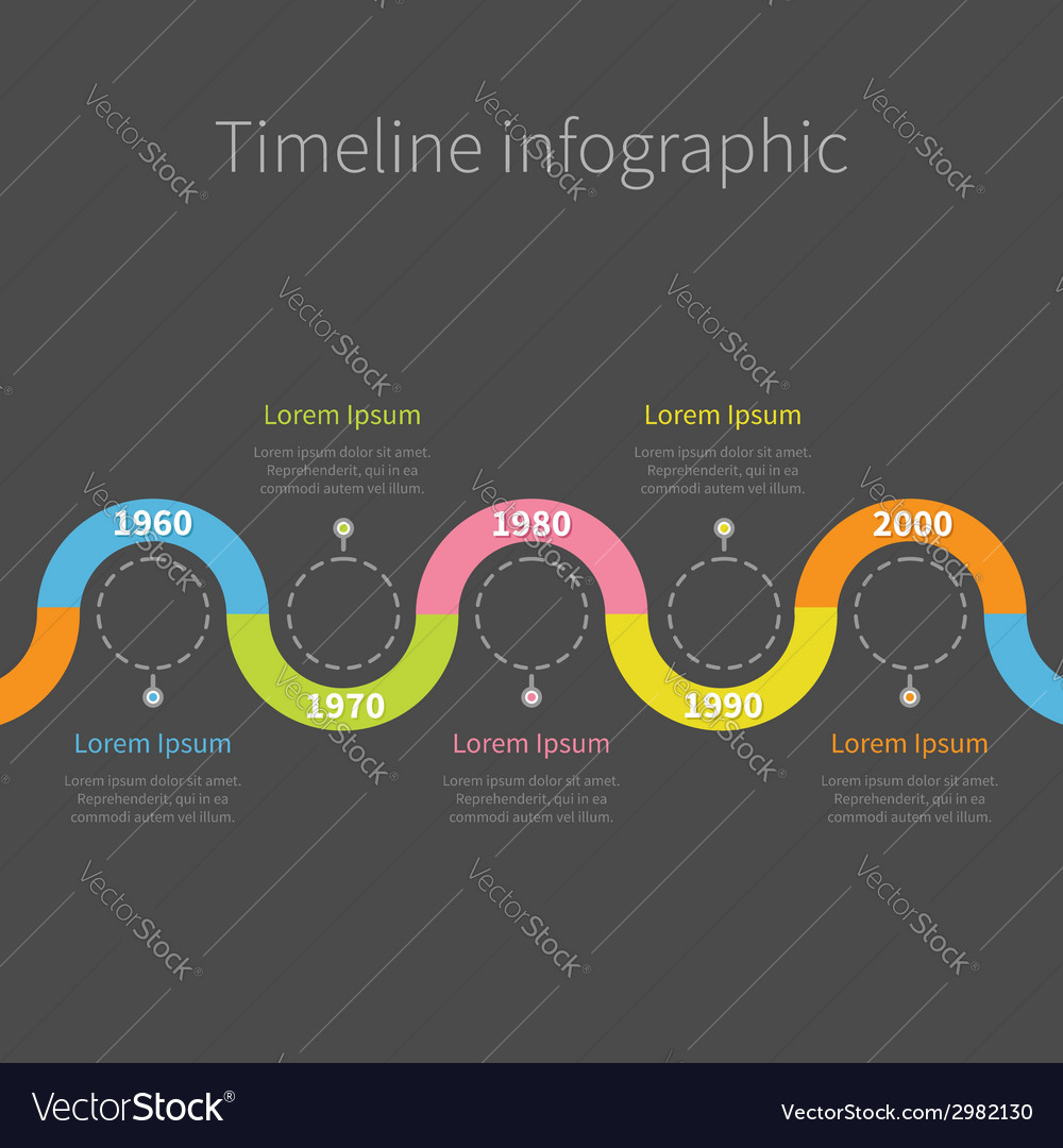 Timeline infographic with ribbon empty dash line vector | Price: 1 Credit (USD $1)