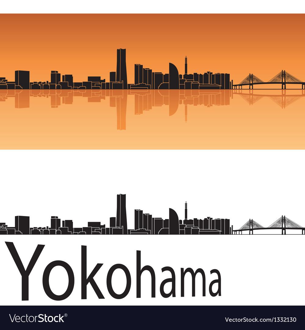 Yokohama skyline in orange background vector | Price: 1 Credit (USD $1)