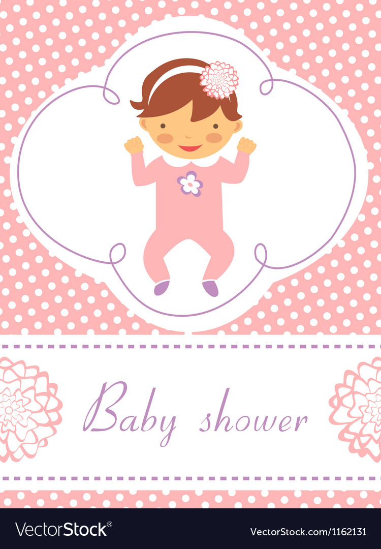 Baby girl card vector | Price: 1 Credit (USD $1)