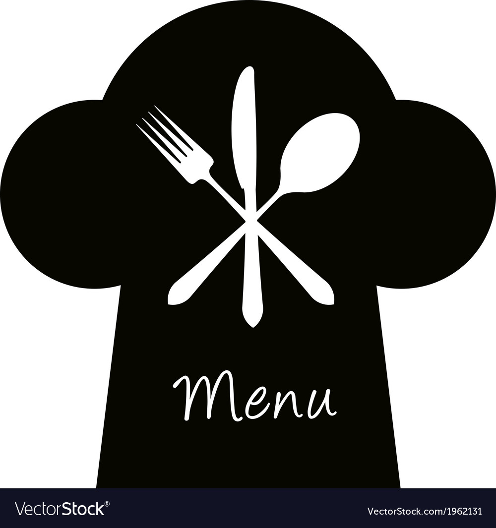 Chef hat with fork knife and spoon - menu concept vector   Price: 1 Credit (USD $1)