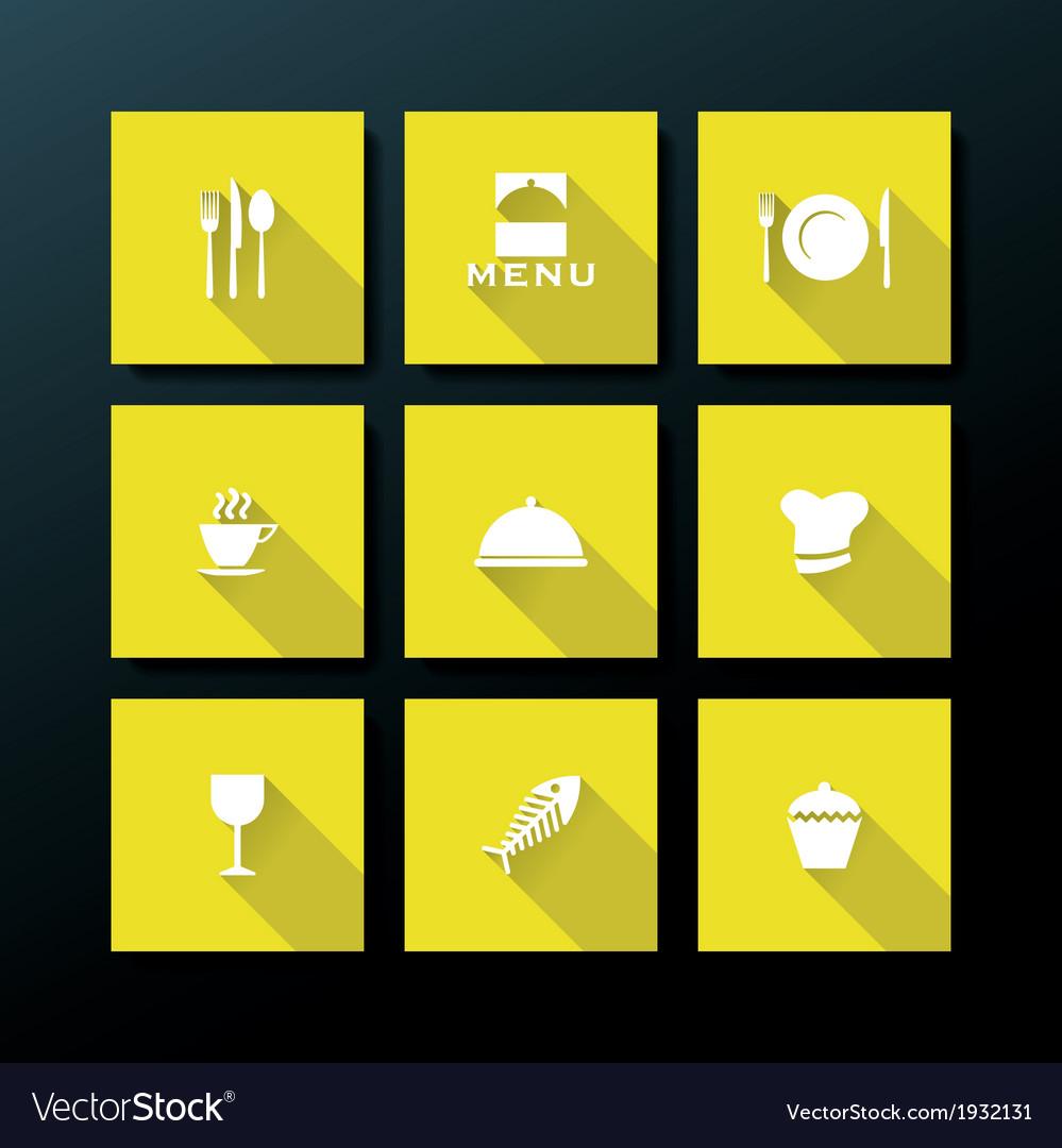 Flat restaurant icon set vector | Price: 1 Credit (USD $1)