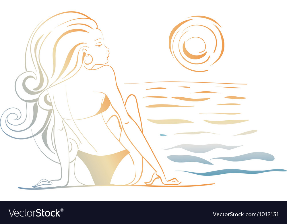 Girl and the ocean doodle vector | Price: 1 Credit (USD $1)