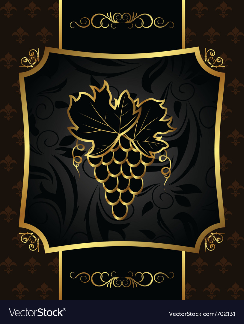 Golden frame with grapevine - vector | Price: 1 Credit (USD $1)