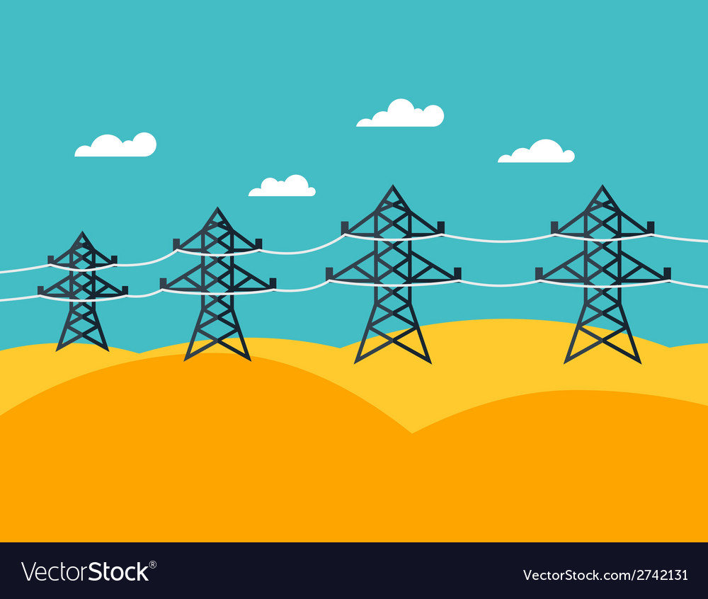 Industrial power lines in flat style vector | Price: 1 Credit (USD $1)